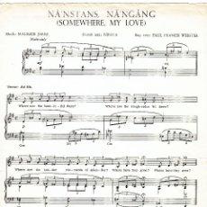 Partituras musicales: NA'NSTANS NA'NGANG - SOMEWHERE MY LOVE - MUSIK : MAURICE JARRE - TEXT : NINITA - WEBSTER. Lote 61933684