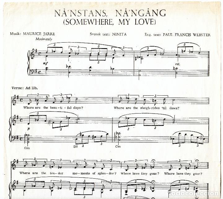 Partituras musicales: NANSTANS NANGANG - SOMEWHERE MY LOVE - MUSIK : MAURICE JARRE - TEXT : NINITA - WEBSTER - Foto 2 - 61933684