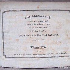 Partituras musicales: PARTITURA GRABADO, S XIX, LOS ELEGANTES, BAILES DE MASCARAS, TEATRO DEL CIRCO, MARIATEGUI, YRADIER. Lote 63114832
