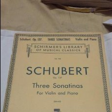 Partituras musicales: PARTITURA SCHUBERT OP137 THREE SONATINAS FOR VIOLIN AND PIANO. Lote 63883807