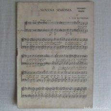 Partituras musicales: NOVENA SINFONÍA L. VAN BEETHOVEN PARA TENORES BAJOS. Lote 64164235