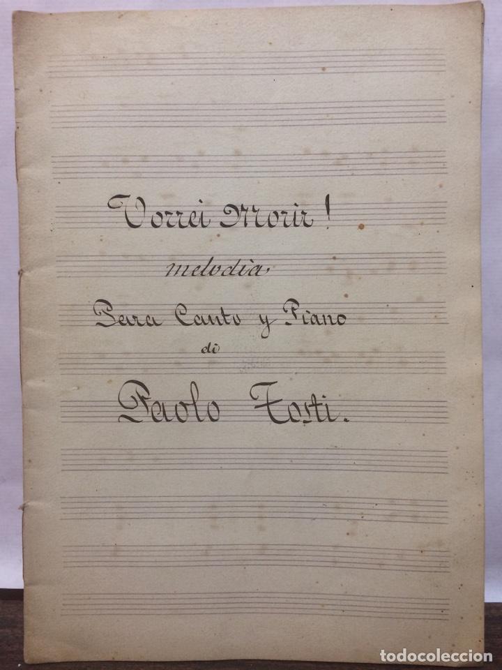 PARTITURA VORREI MORIR PAOLO TOSTI (Música - Partituras Musicales Antiguas)