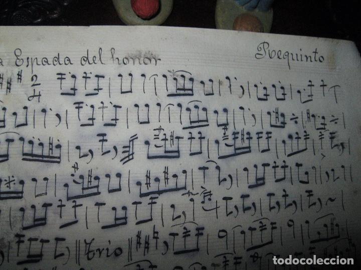 PASODOBLE ANTIGUA PARTITURA MANUSCRITA LA ESPADA DEL HONOR CIRCA 1900 REQUINTO (Música - Partituras Musicales Antiguas)