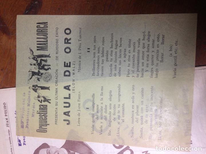 Partituras musicales: ANTIGUA PARTITURA JAULA DE ORO PULIDO ORQUESTINA MALLORCA - Foto 3 - 69625985