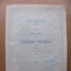 Partituras musicales: PARTITURA MUSICAL SANGRE VIENESA PARA PIANO - JOHANN STRAUSS PARTITURAS DE MUSICA ED. MUSICA MODERNA. Lote 70073805