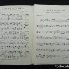 Partituras musicales: PARTITURA ANTIGUA - LA MUJER ARGENTINA -. TANGO CANCIÓN CRIOLLA.. Lote 70162189
