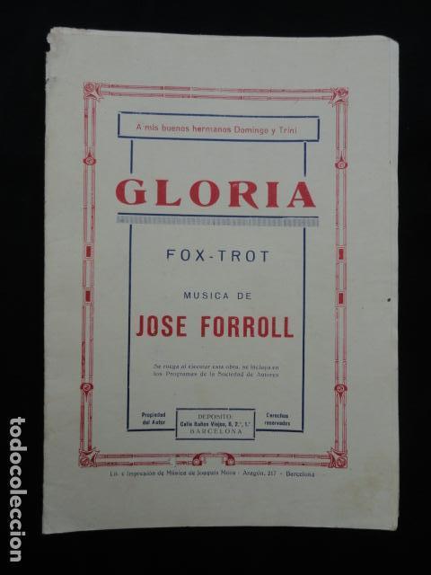 PARTITURA ANTIGUA - GLORIA -. FOX-TROT (Música - Partituras Musicales Antiguas)