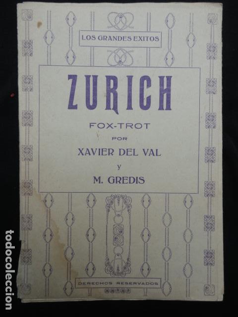 PARTITURA ANTIGUA - ZURICH -. FOX-TROT (Música - Partituras Musicales Antiguas)