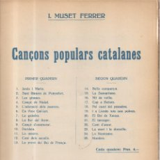 Partituras musicales: CANÇONS POPULARS CATALANES F. MUSET FERRER. Lote 70323825