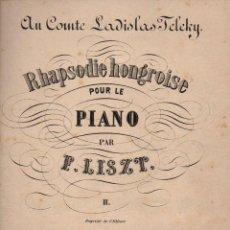 Partituras musicales: LISZT : RHAPSODIE HONGROISE POUR LE PIANO (SCHIRMER). Lote 71098481