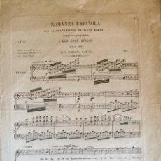 Partiture musicali: PARTITURA DEL SXIX ROMANZA ESPAÑOLA. Lote 73666791