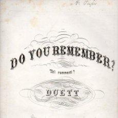 Partituras musicales: F. CAMPANA : DO YOU REMEMBER? - TE'L RAMMENTI? (SCHIRMER, 1861). Lote 73821411