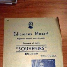 Partituras musicales: SOUVENIRS. BOLERO. EDICIONES MOZART. REPERTORIO ESPECIAL PARA ACORDEÓN. BARCELONA, 1956. Lote 73945155