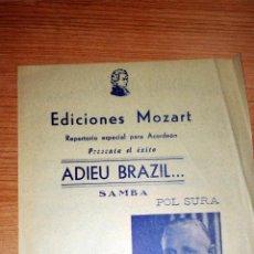 Partituras musicales: ADIEU BRAZIL. SAMBAM. EDICIONES MOZART. REPERTORIO ESPECIAL PARA ACORDEÓN. BARCELONA, 1956. Lote 73945307