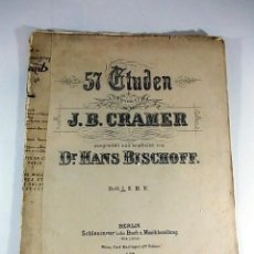 Partituras musicales: ANTIGUA PARTITURA DE J.B CRAMER SELECCIONADO Y EDITADO POR DR. HANS BISCHOFF. Lote 74177383