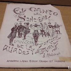 Partituras musicales: PARTITURA / EL CANTO DEL SENEGAL (1818). DANZÓN. J. ANCKERMANN / LA HABANA- 1915 / VER FOTOS.. Lote 75660459