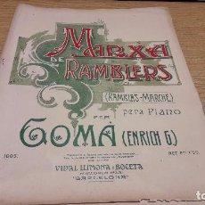 Partituras musicales: PARTITURA / MARXA DE RAMBLERS. ENRICH G. GOMÀ. ED / VIDAL LLIMONA Y BOCETA.. Lote 75923479