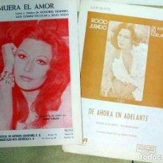 Partituras musicales: ROCÍO JURADO: DOS PARTITURAS; MUERA EL AMOR, DE AHORA EN ADELANTE. Lote 76142179