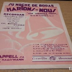 Partituras musicales: PARTITURA / RECORDAR ( SOUVIENS-TOI ) CH. BOREL-CLERC. PARIS - 1931. Lote 76365991