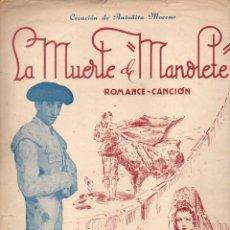 Partituras musicales: T. LUCA DE TENA / J. GUERRERO : LA MUERTE DE MANOLETE. Lote 78731277