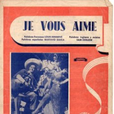 Partituras musicales: CARMEN MIRANDA Y ANDY RUSSELL : JE VOUS AIME. Lote 78734177