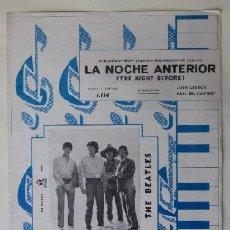 Partituras musicales: LA NOCHE ANTERIOR, THE NIGHT BEFORE - JOHN LENNON, PAUL MC CARTNEY - THE BEATLES - GRAMOFONO-ODEON. Lote 78870393