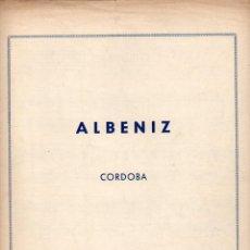 Partituras musicales: ALBÉNIZ : CÓRDOBA (UNIÓN MUSICAL). Lote 79629645