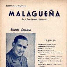 Partituras musicales: ERNESTO LECUONA : MALAGUEÑA (EDICIONES QUIROGA). Lote 79631897