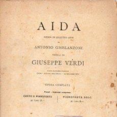 Partituras musicales: VERDI : AIDA OPERA COMPLETA PARA PIANO (RICORDI). Lote 79632573
