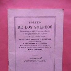 Partituras musicales: SOLFEO DE LOS SOLFEOS 5A EDITORIAL BOILEAU. Lote 80031581