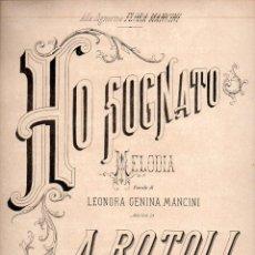 Partituras musicales: ROTOLI : HO SOGNATO (RICORDI). Lote 81805276