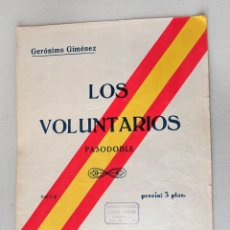 Partituras musicales - los voluntarios pasodoble militar geronimo gimenez partitura año 1938 union musical española - 81992988