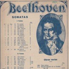 Partiture musicali: BEETHOVEN - SONATAS Y OBRAS VARIAS - EDITORIAL BOILEAU. Lote 82910448