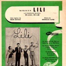 Partiture musicali: HI LILI HI LO - LESLIE CARON (1952) DE LA PELÍCULA LILI. Lote 83706916