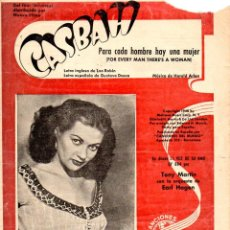 Partiture musicali: PARA CADA HOMBRE HAY UNA MUJER - YVONNE DE CARLO (1948) DE LA PELÍCULA CASBAH. Lote 83707436
