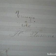 Partituras musicales: PLASENCIA PARTITURA MANUSCRITA TRISAGIO SOLO CIRCA 1900. Lote 84915620