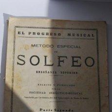 Partituras musicales: MÉTODO ESPECIAL DE SOLFEO - EL PROGRESO MUSICAL - PARTE SEGUNDA.. Lote 86682688