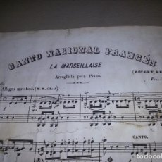 Partituras musicales: PARTITURA DEL SIGLO XIX- LA MARSELLESA-EDITOR CASIMIRO MARTÍN. Lote 87071476