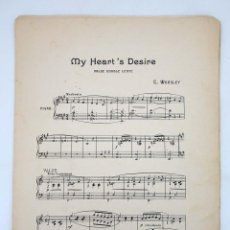 Partituras musicales: MY HEART'S DESIRE VALSE DOUBLE LENTE (C WORSLEY) MANUEL VILLAR, 1916. PARTITURA. Lote 97225263