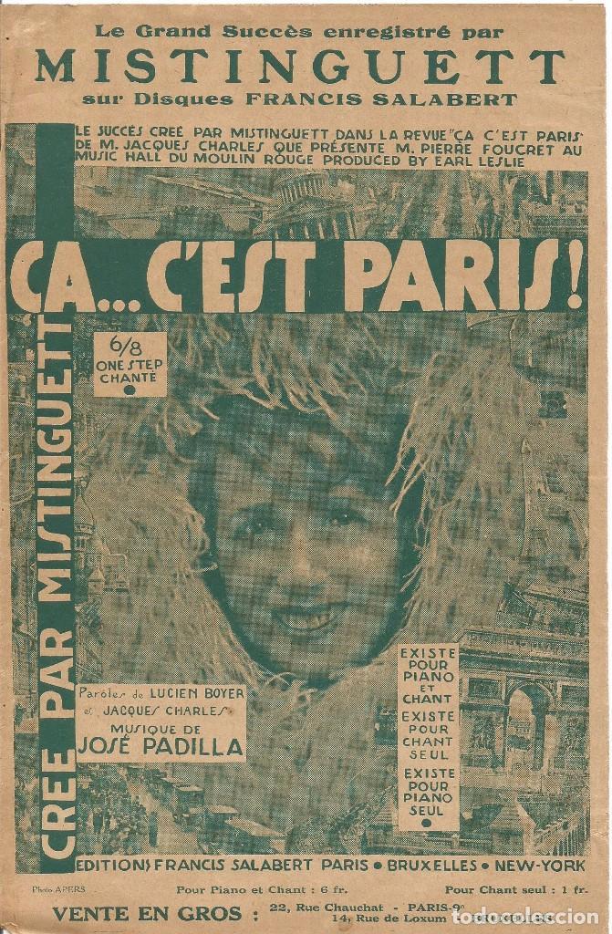 MISTINGUETT AU MOULIN ROUGE CA... C'EST PARIS PARTITURA PIANO 1927 LETRA MUSICA DE JOSE PADILLA (Música - Partituras Musicales Antiguas)