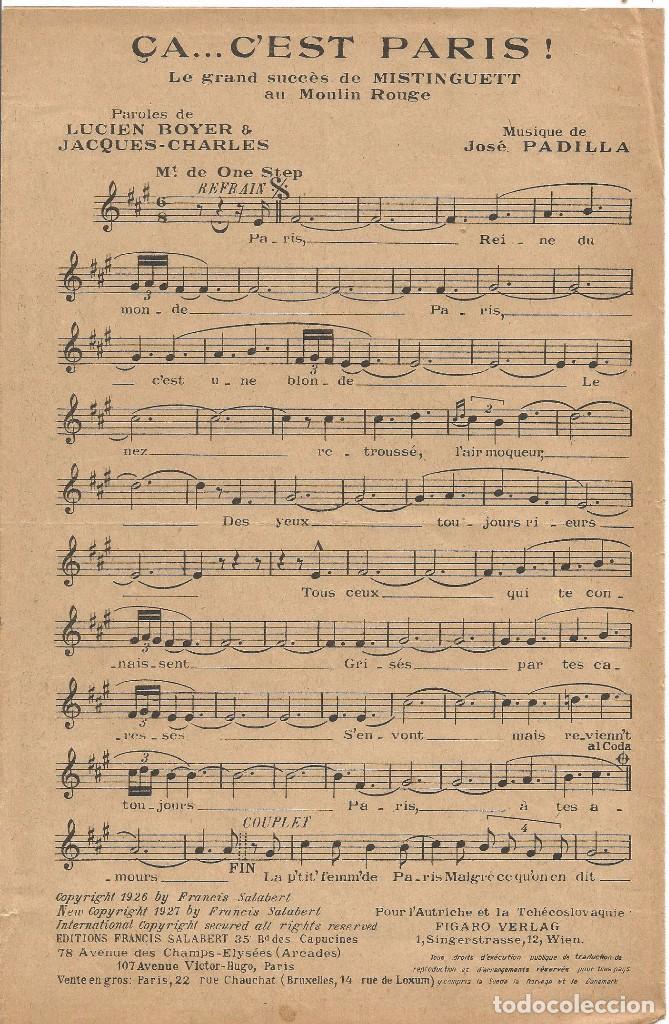 Partituras musicales: MISTINGUETT AU MOULIN ROUGE CA... C'EST PARIS PARTITURA PIANO 1927 LETRA MUSICA DE JOSE PADILLA - Foto 2 - 97769063