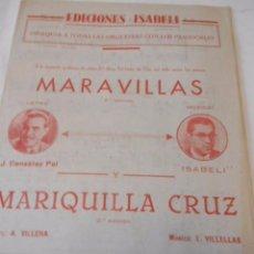 Partiture musicali: PARTITURA DE VARIOS INSTRUMENTOS. EDICIONES ISABELI. MARAVILLAS Y E. VILLELLAS: MARIQUILLA CRUZ-. Lote 98118215