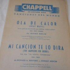 Partituras musicales: PARTITURA DE VARIOS INSTRUMENTOS. CANCIONES DEL MUNDO. IRVING BERLIN: OLA DE CALOR. RICHARD WHITINGI. Lote 98121407