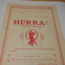 Partituras musicales: PARTITURA PARA PIANO. J. VERSALLES: HURRA!!.. MARCHA ONE-STEP. 2 HOJAS. . Lote 98361919