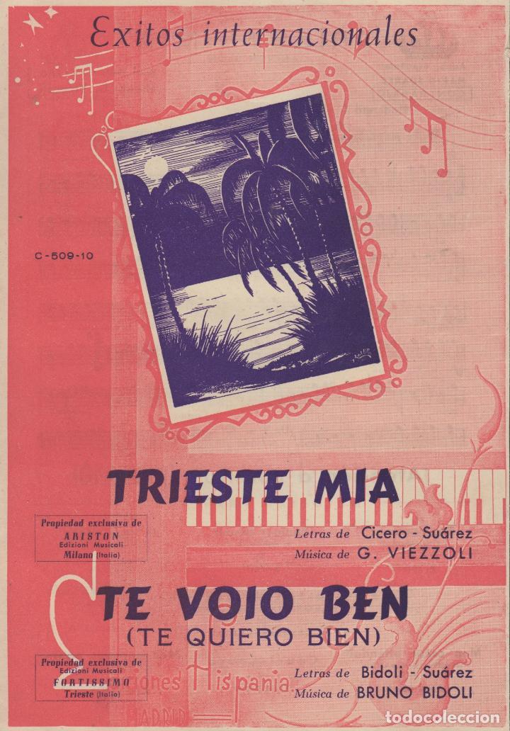 PARTITURA TRISTE MIA G. VIEZZOLI - TE VOIO BEN BRUNO BIDOLI (Música - Partituras Musicales Antiguas)