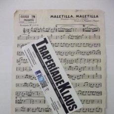 Partituras musicales: PARTITURA MALETILLA PASODOBLE. PESQUERA Y POCOVI. + MANOLITA. TROMPETA. TDKP6. Lote 99050075