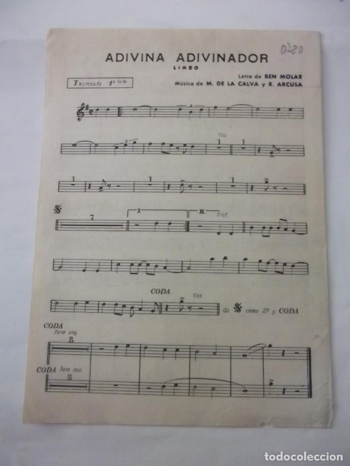 PARTITURA ADIVINA ADIVINADOR. BEN MOLAR. TROMPETA + CANCION TRISTE. MANUEL DE LA CALVA. TDKP6 (Música - Partituras Musicales Antiguas)