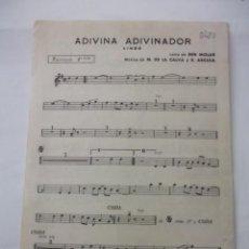 Partituras musicales: PARTITURA ADIVINA ADIVINADOR. BEN MOLAR. TROMPETA + CANCION TRISTE. MANUEL DE LA CALVA. TDKP6. Lote 99293223