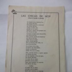 Partituras musicales: LETRA LAS CHICAS DE HOY. THAT'S HOW IT GOES. + AYER YESTERDAY. TDKP6. Lote 99302111