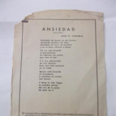 Partituras musicales: LETRA CANCION ANSIEDAD BOLERO. JOSE E. SARABIA. + BELLA. G. FABOR. DANPA. TDKP6. Lote 99302319